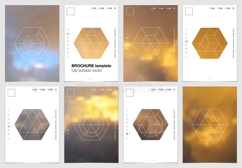 Дизайн крышки брошюры A4 с геометрическими формами и масками в современном минималистичном стиле Творческий шаблон рогульки, ежег иллюстрация штока