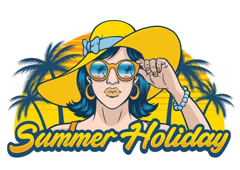Дизайн летнего отпуска с солнечными очками девушки нося иллюстрация штока