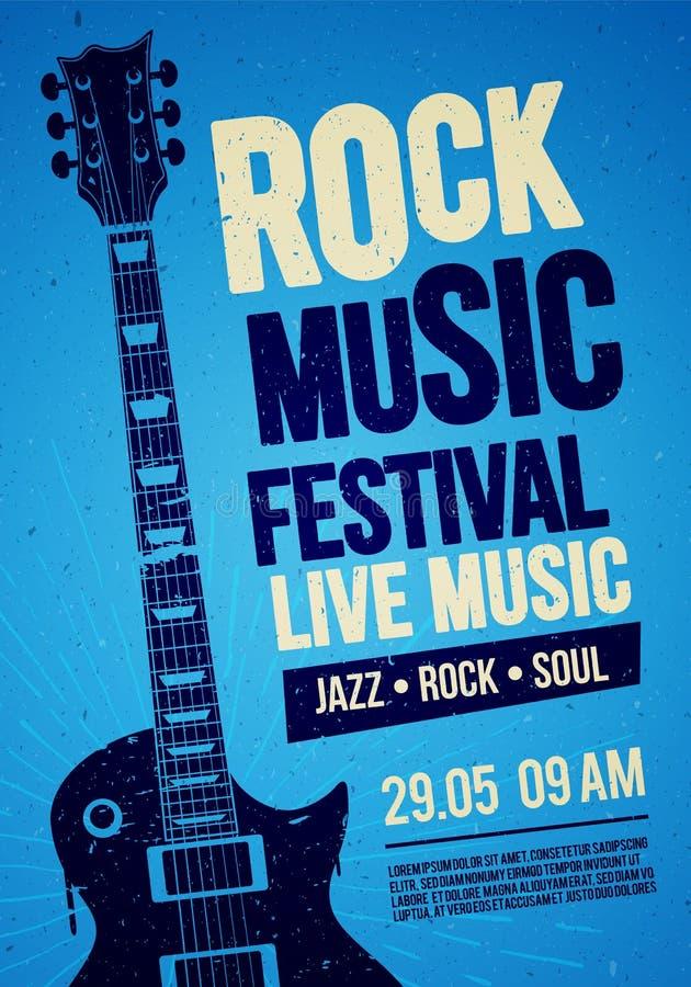Дизайн летчика или плаката события концерта фестиваля утеса иллюстрации вектора с гитарой и винтажными влияниями иллюстрация штока