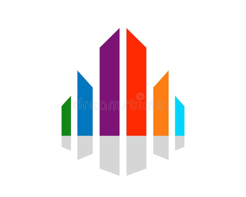 Дизайн логотипа абстрактного символа разнообразия Scape города красочного графический иллюстрация штока