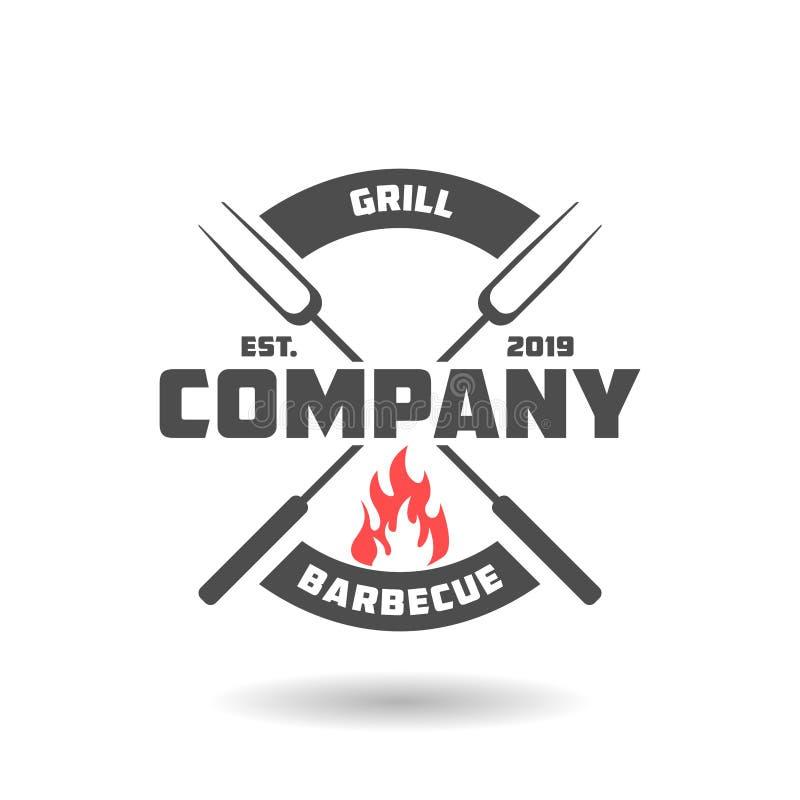 Дизайн логотипа барбекю иллюстрация штока