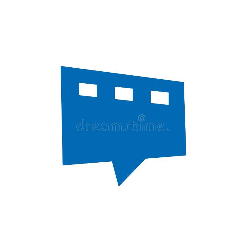 Дизайн логотипа беседы фильма, пузырь речи совмещенный с прокладкой фильма, простым дизайном значка, элементом логотипа иллюстрация вектора