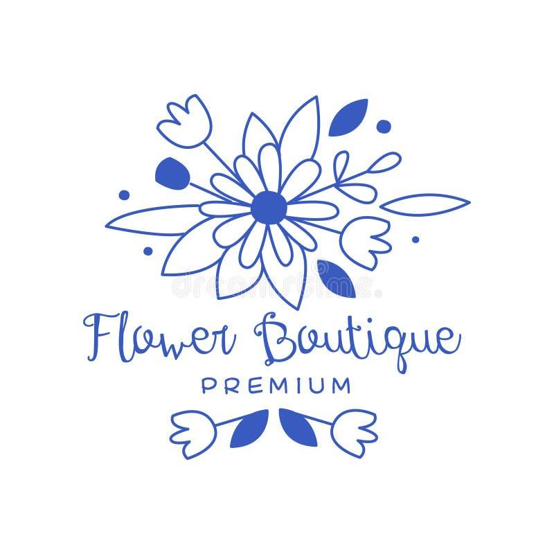 Дизайн логотипа бутика цветка наградной, флористическая эмблема, флористы, иллюстрация вектора значка цветочного магазина нарисов иллюстрация штока