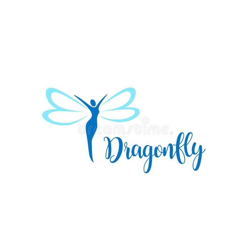 Дизайн логотипа вектора Знак Dragonfly иллюстрация штока