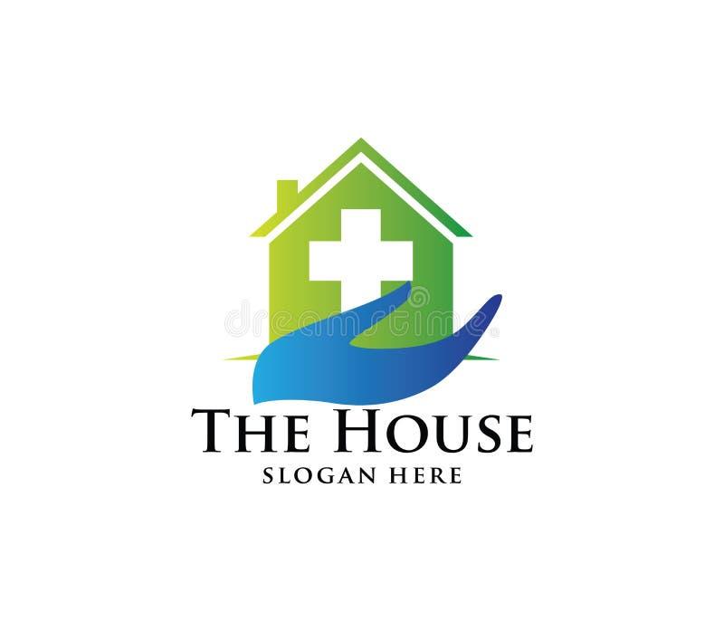Дизайн логотипа вектора медицинского дома здравоохранения, зубоврачебной клиники, дома центра здоровья красоты иллюстрация вектора