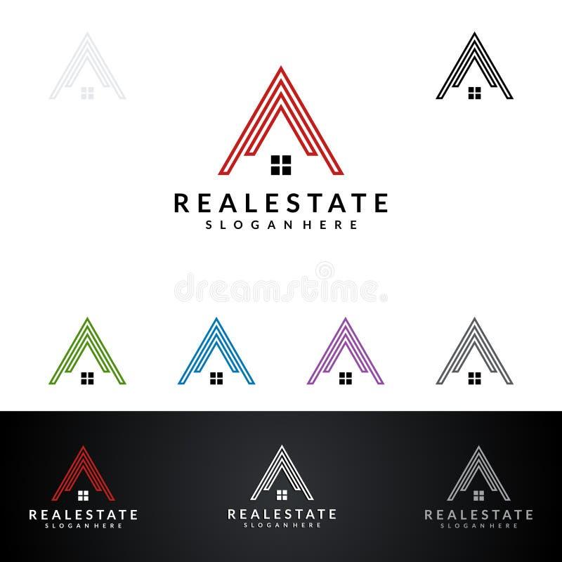 Дизайн логотипа вектора недвижимости с домом и экологичность формируют, изолированный на белой предпосылке иллюстрация вектора