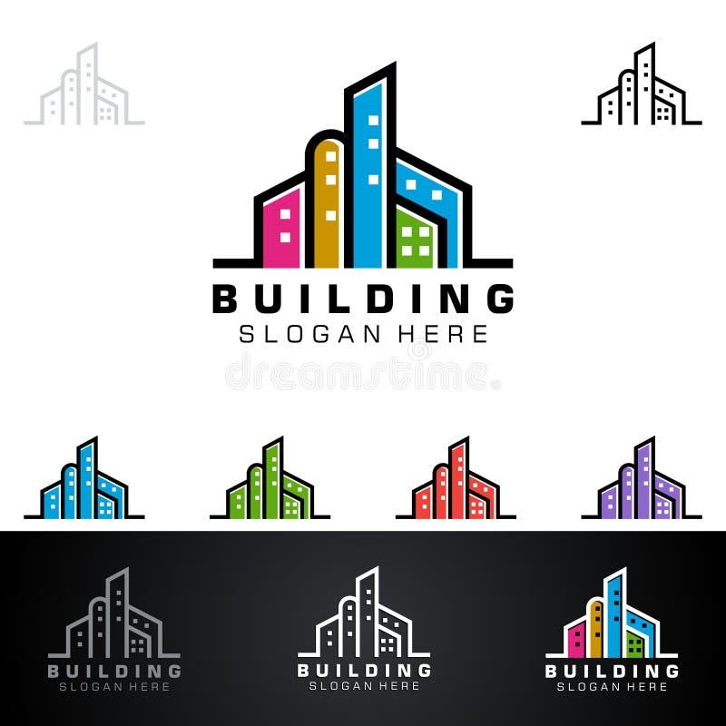 Дизайн логотипа вектора недвижимости с домом и экологичность формируют, изолированный на белой предпосылке бесплатная иллюстрация