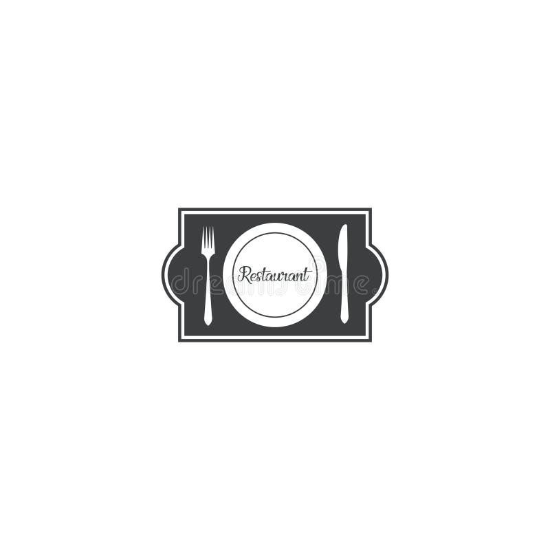 Дизайн логотипа вилки, плиты и ножа шаблон вектора значка dan символа иллюстрация штока