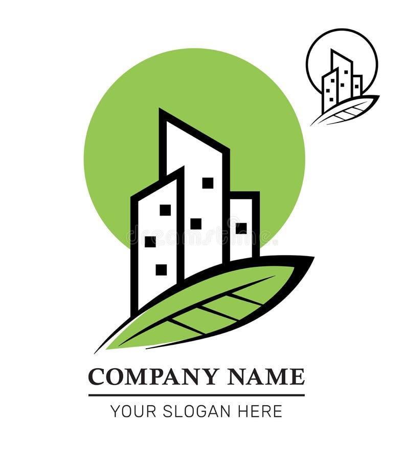 Дизайн логотипа дела недвижимости Развитие недвижимости и управление Здание города Eco вектор иллюстрация штока