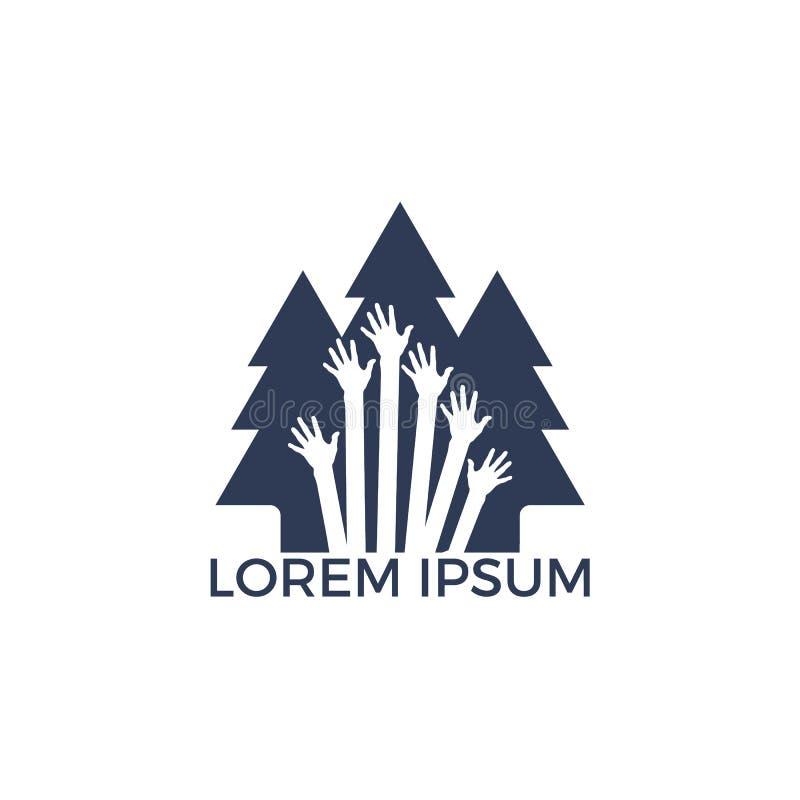 Дизайн логотипа дерева защиты бесплатная иллюстрация