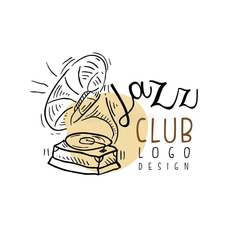 Дизайн логотипа джаз-клуба, винтажный ярлык музыки с патефоном, элемент для рогульки, карточка, листовка или знамя, нарисованная  бесплатная иллюстрация