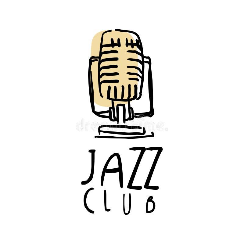 Дизайн логотипа джаз-клуба, ярлык музыки с ретро микрофоном, элемент для рогульки, карточка, листовка или знамя, рука нарисованны иллюстрация вектора