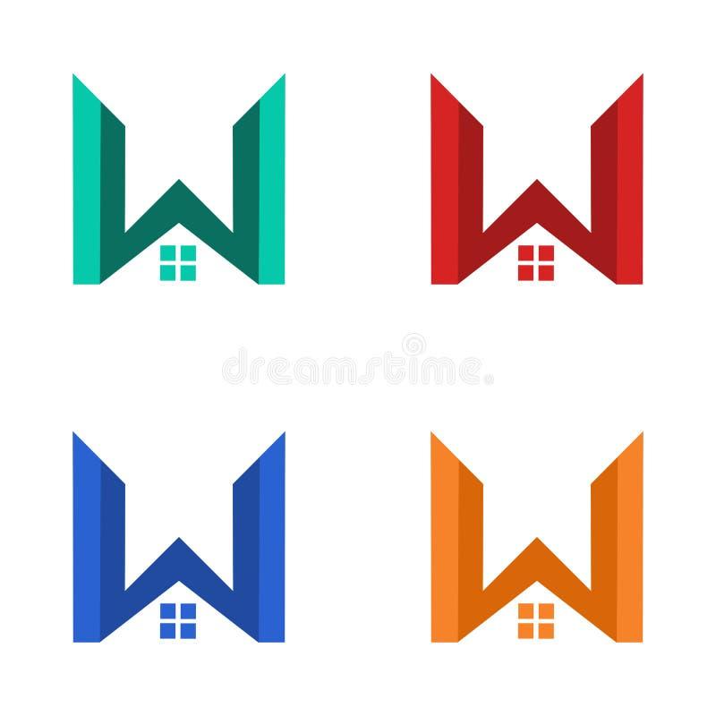 Дизайн логотипа дома w современный иллюстрация вектора