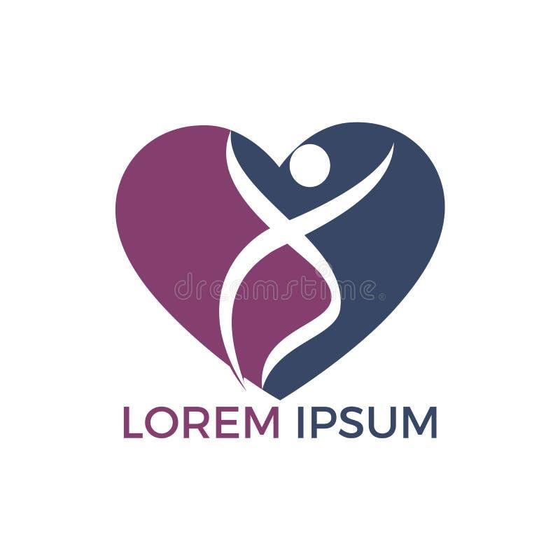 Дизайн логотипа здоровий человека Иллюстрация концепции логотипа вектора формы сердца здравоохранения иллюстрация штока