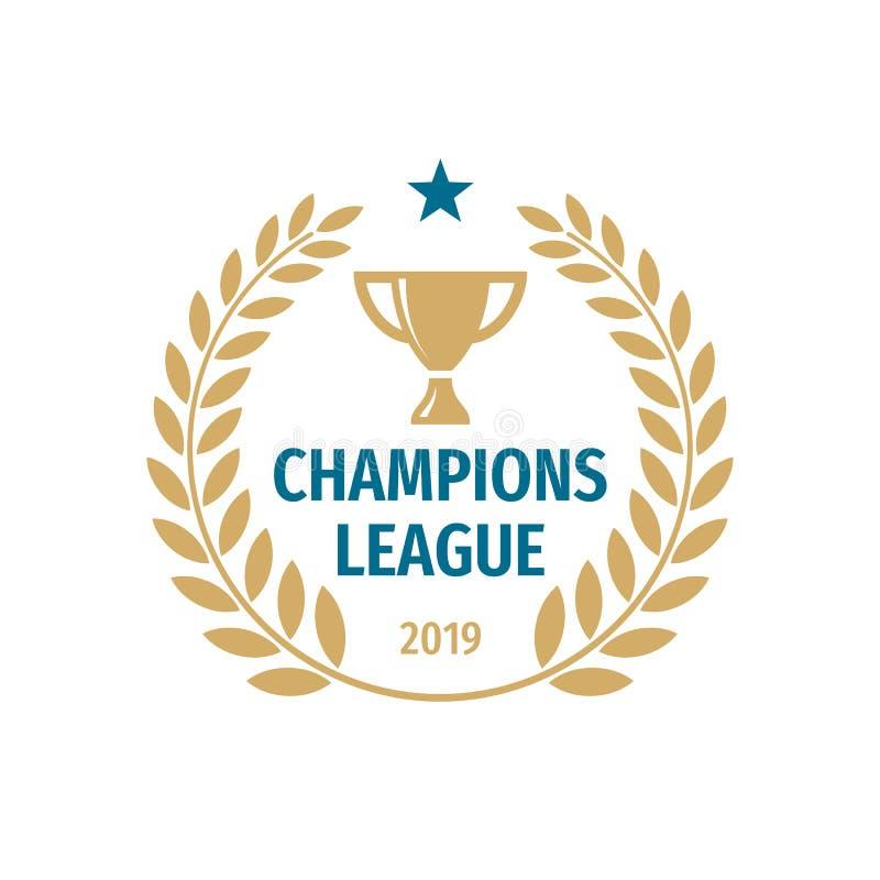 Дизайн логотипа значка лиги чемпионов Иллюстрация вектора значка чашки золота иллюстрация вектора