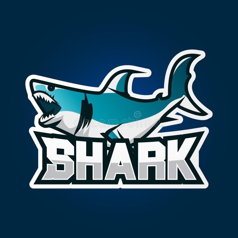 Дизайн логотипа игры esport акулы Иллюстрация дизайна логотипа эмблемы игры акулы иллюстрация вектора