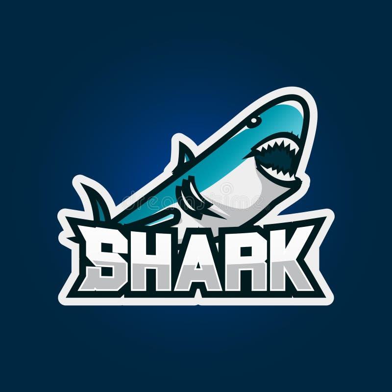 Дизайн логотипа игры esport акулы Иллюстрация дизайна логотипа эмблемы игры акулы иллюстрация штока