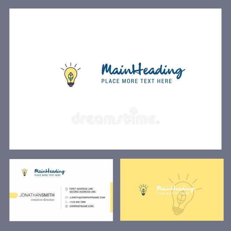 Дизайн логотипа идеи со слоганом & фронтом и задним шаблоном карты Busienss Дизайн вектора творческий иллюстрация штока