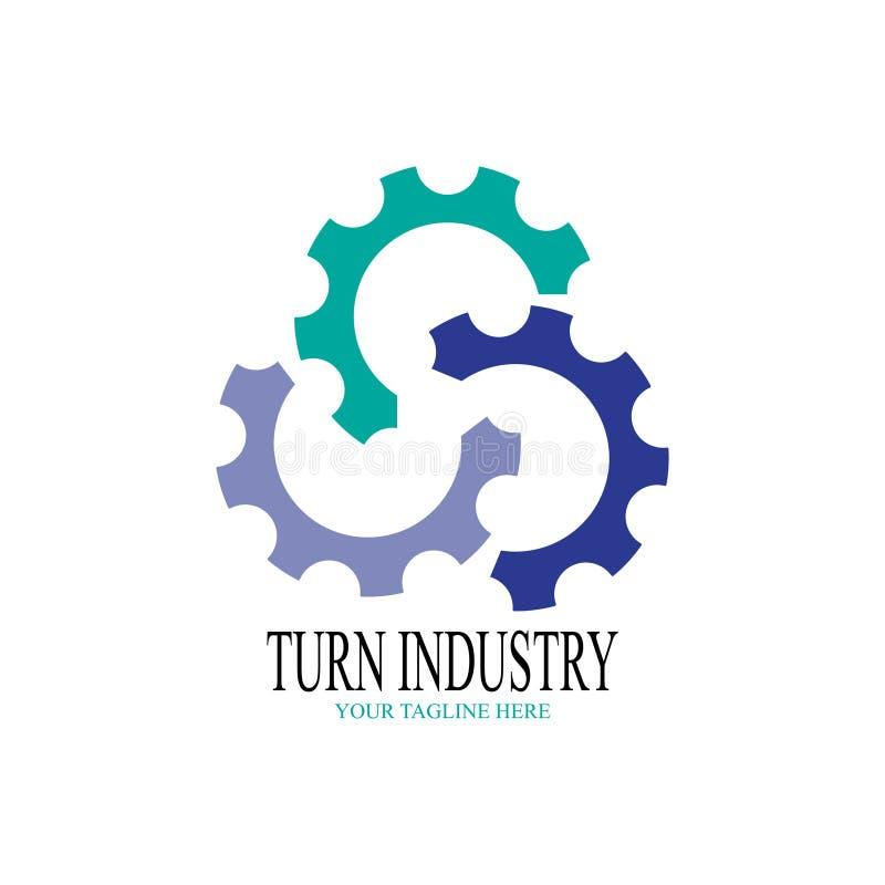 Дизайн логотипа индустрии поворота Шестерня 3 половин иллюстрация штока