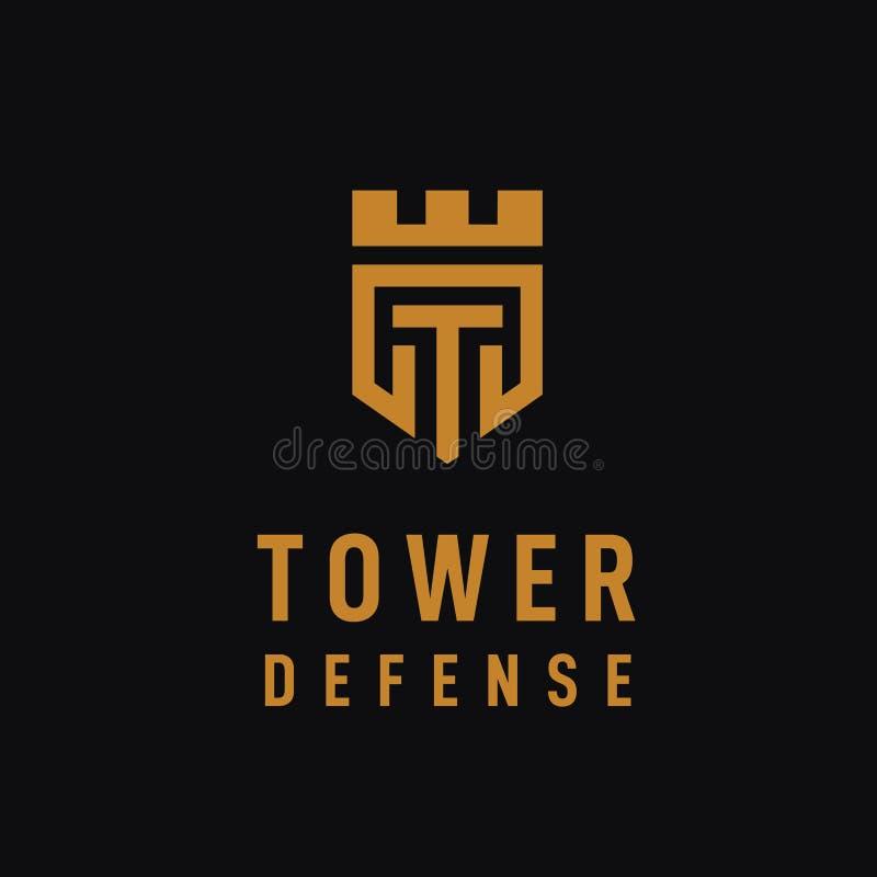 Дизайн логотипа королевства башни начального письма t с цветом золота иллюстрация штока