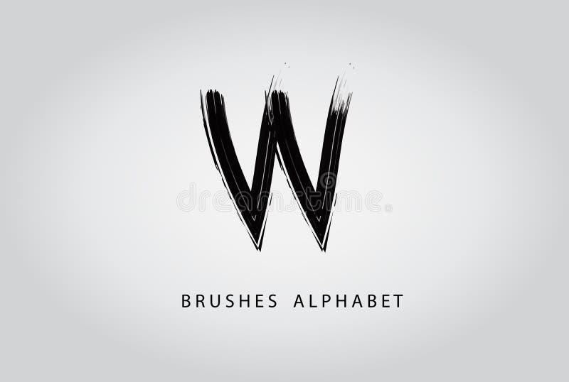 Дизайн логотипа краски черноты щетки w письма бесплатная иллюстрация