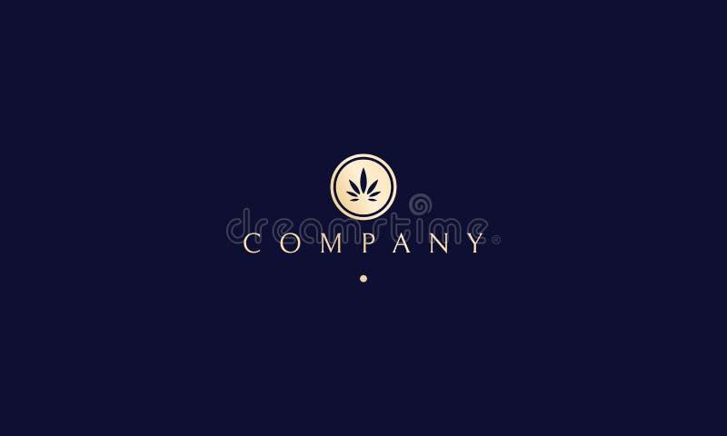 Дизайн логотипа круга вектора лист конопли золотой иллюстрация штока