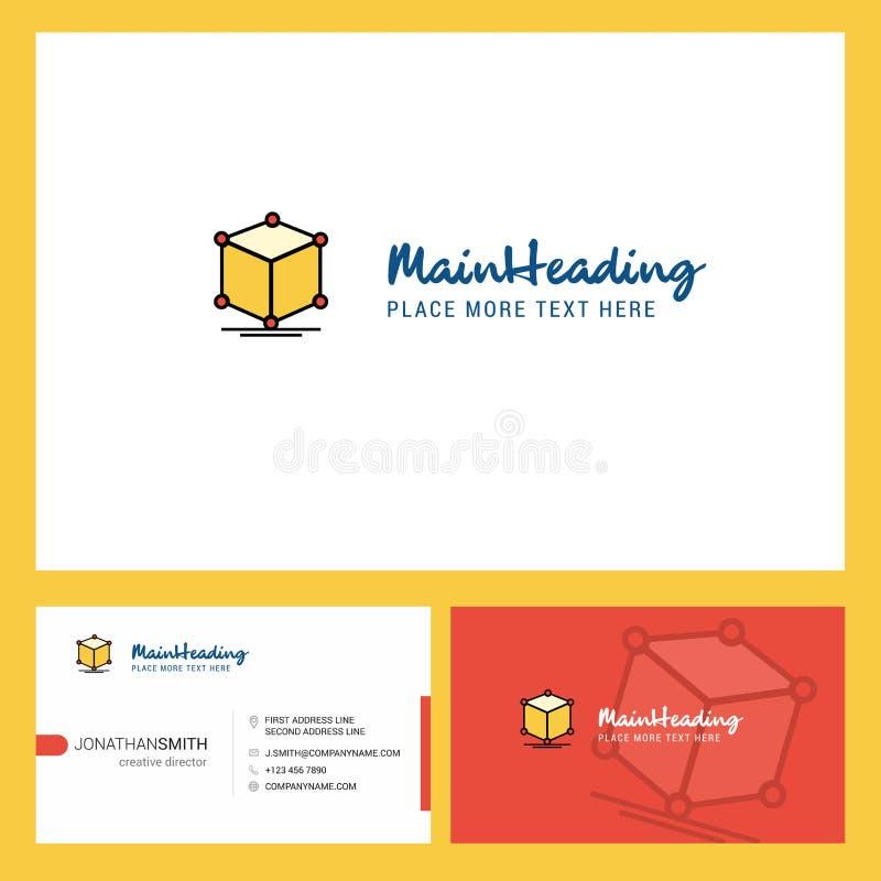 Дизайн логотипа куба со слоганом & фронтом и задним шаблоном карты Busienss Дизайн вектора творческий иллюстрация вектора
