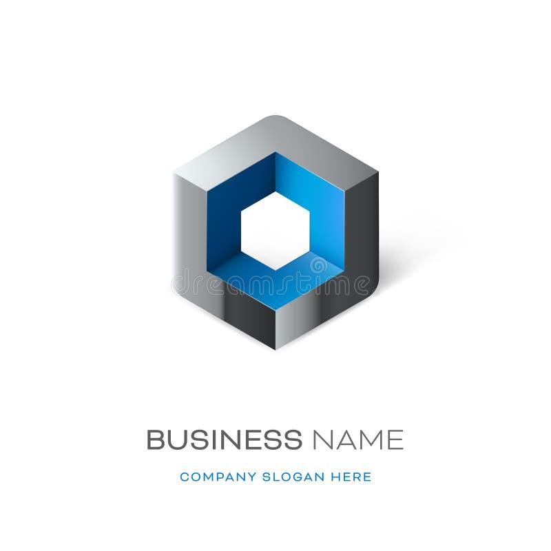 Дизайн логотипа куба Astract иллюстрация вектора
