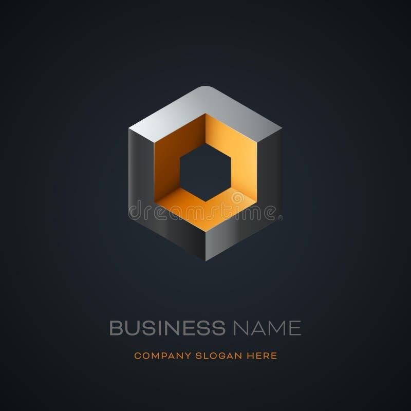 Дизайн логотипа куба Astract иллюстрация штока