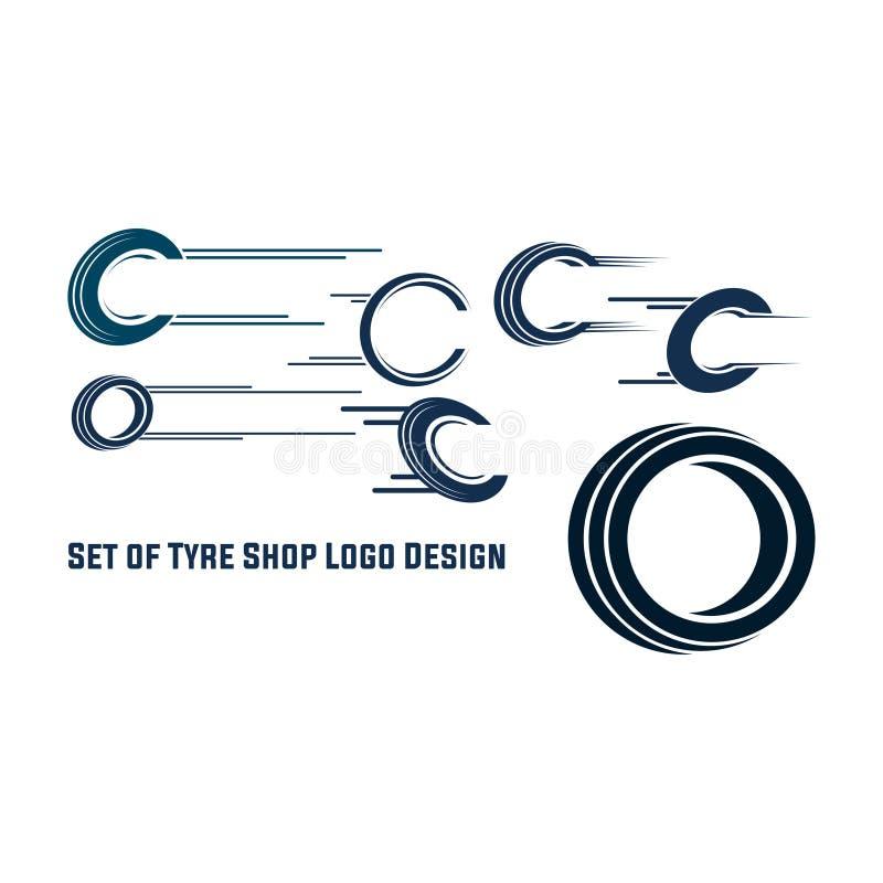 Дизайн логотипа магазина покрышки - дело клеймя, значки покрышки магазина логотипа покрышки, значки автошины, значки автошины авт иллюстрация вектора