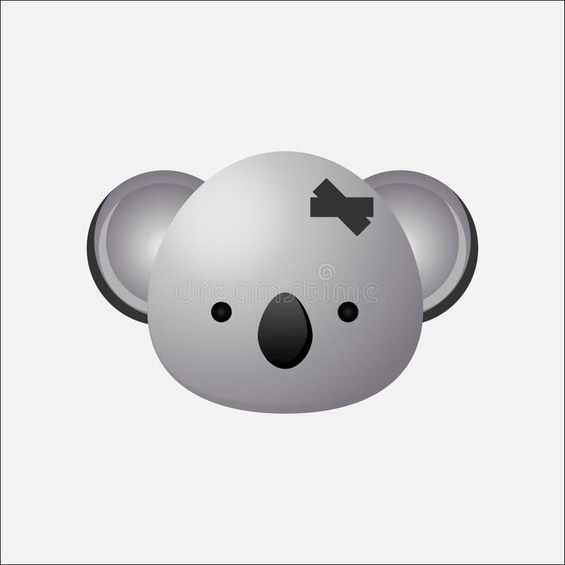 Дизайн логотипа медведя коалы, значок коалы головной, иллюстрация штока