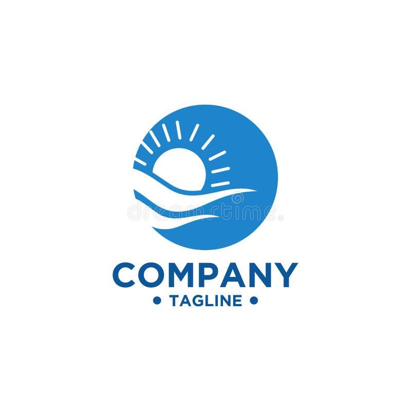 Дизайн логотипа моря и Солнца иллюстрация штока