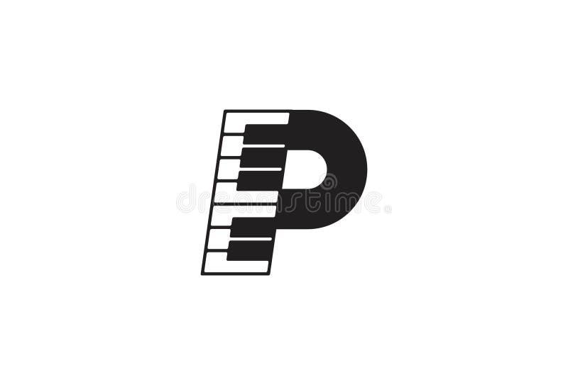 Дизайн логотипа музыки рояля иллюстрация вектора