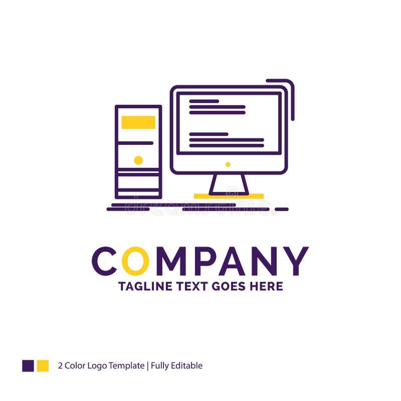 Дизайн логотипа названия фирмы для компьютера, рабочего стола, игры, ПК, pers иллюстрация штока