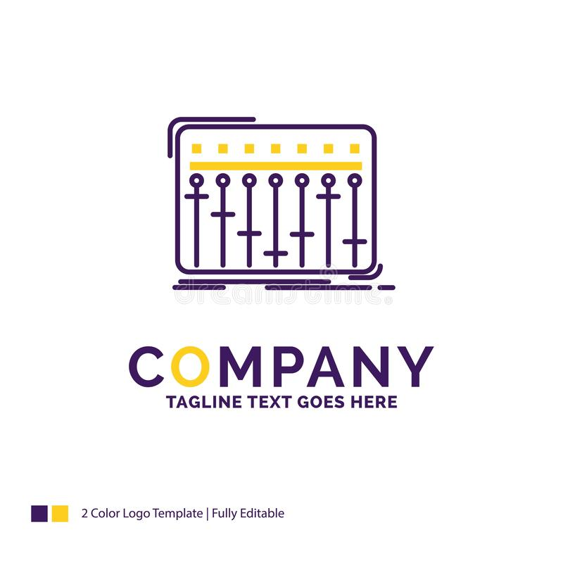 Дизайн логотипа названия фирмы для консоли, dj, смесителя, музыки, студии иллюстрация штока