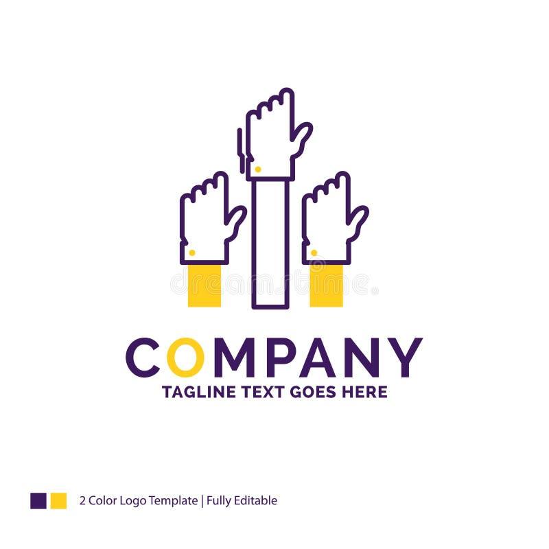 Дизайн логотипа названия фирмы для устремленности, дела, желания, emplo иллюстрация вектора