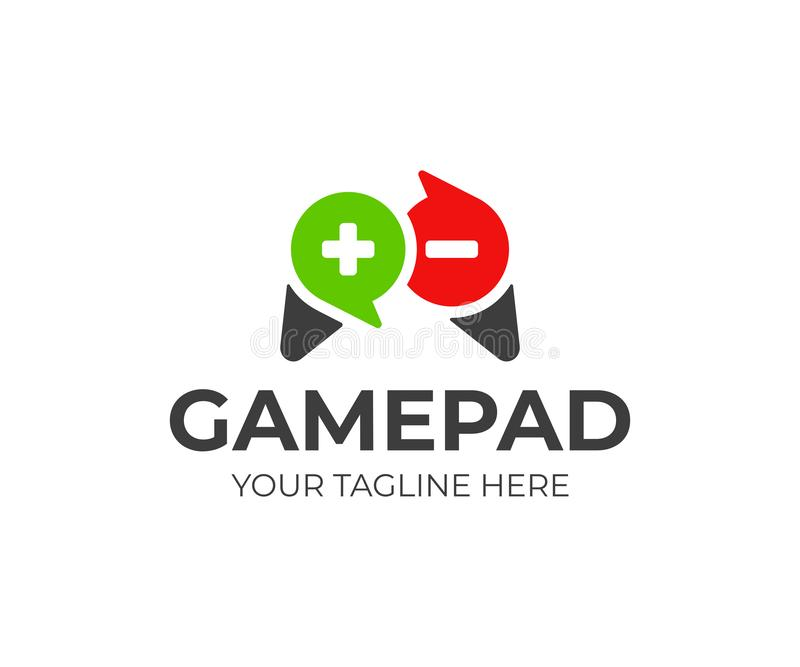 Дизайн логотипа оценки видеоигры Gamepad и дизайн вектора счетов обзора иллюстрация вектора