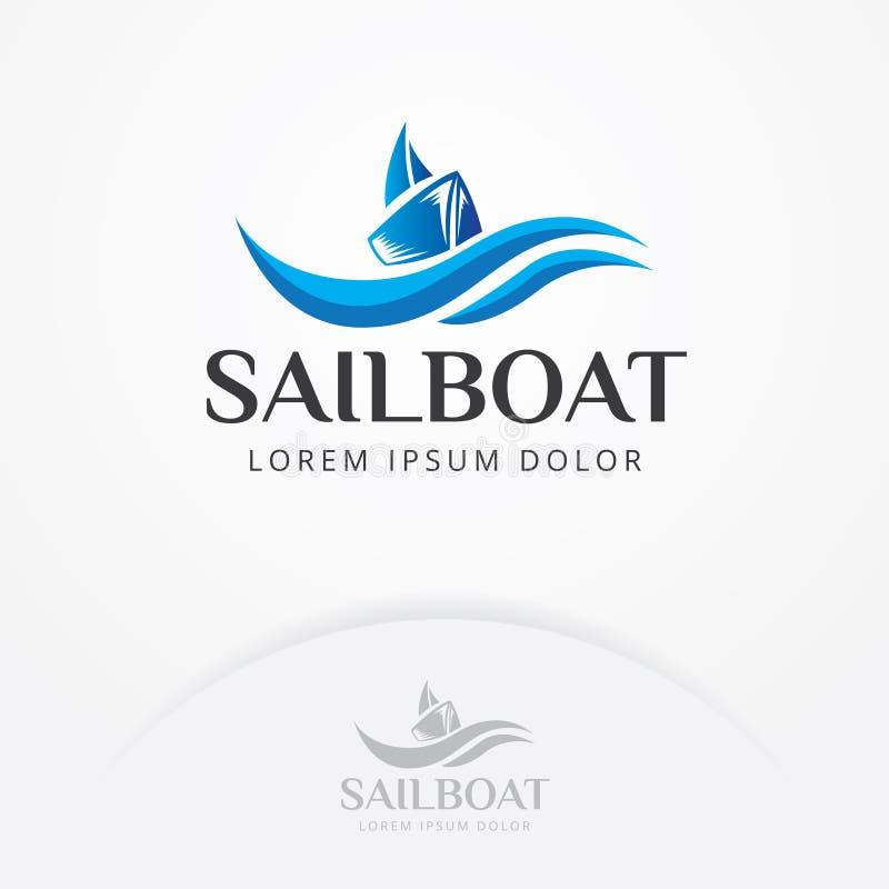 Дизайн логотипа парусника иллюстрация вектора