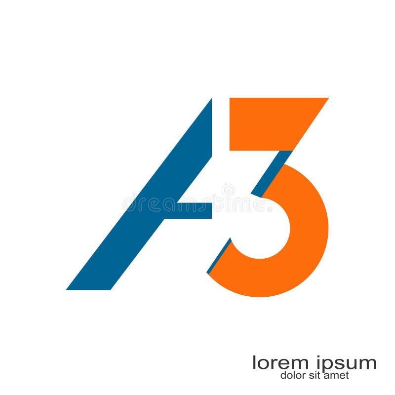 Дизайн логотипа 3 писем иллюстрация вектора
