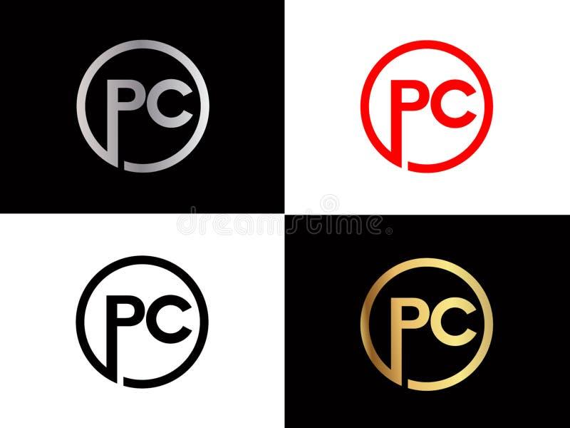 Дизайн логотипа письма формы ПК квадратный в серебряном цвете золота бесплатная иллюстрация