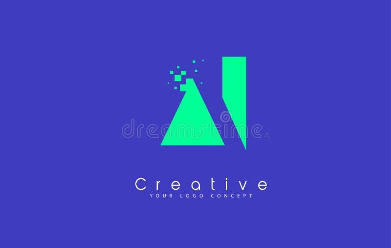 Дизайн логотипа письма AI с отрицательной концепцией космоса бесплатная иллюстрация