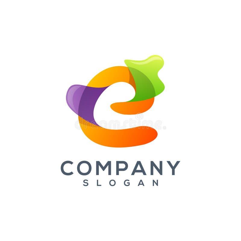 Дизайн логотипа письма e красочный иллюстрация вектора
