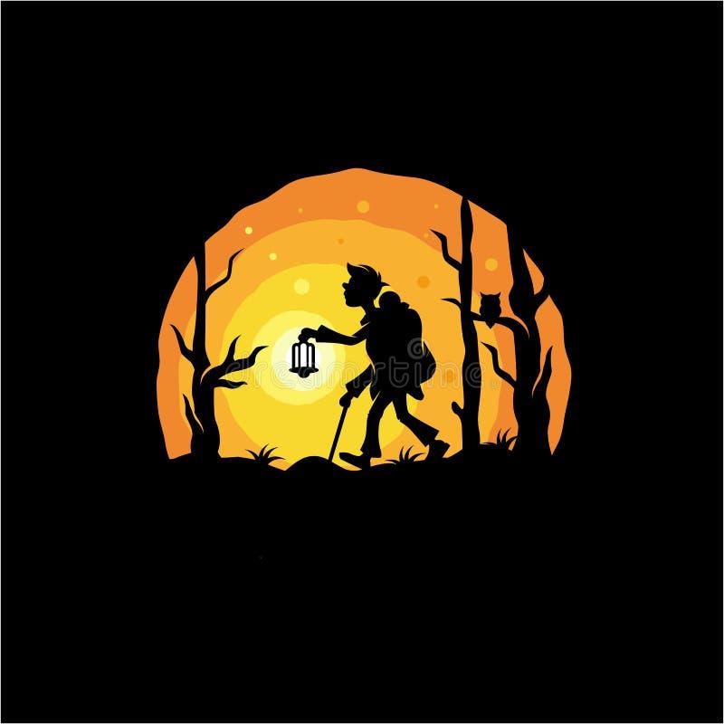 Дизайн логотипа приключения ночи, вектор, иллюстрация иллюстрация вектора