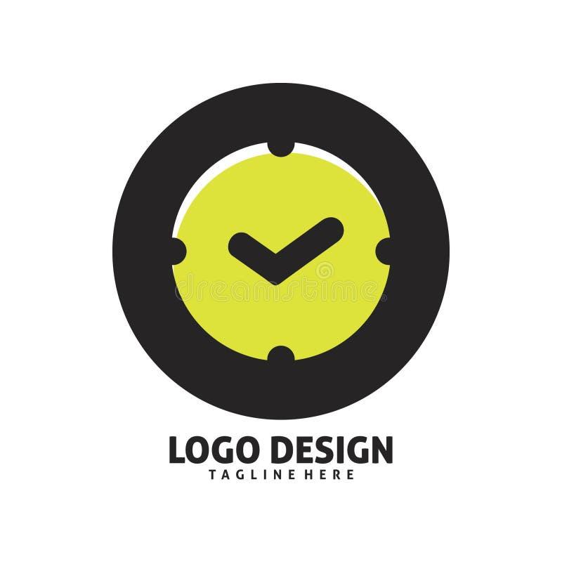 Дизайн логотипа проверки времени круга иллюстрация штока