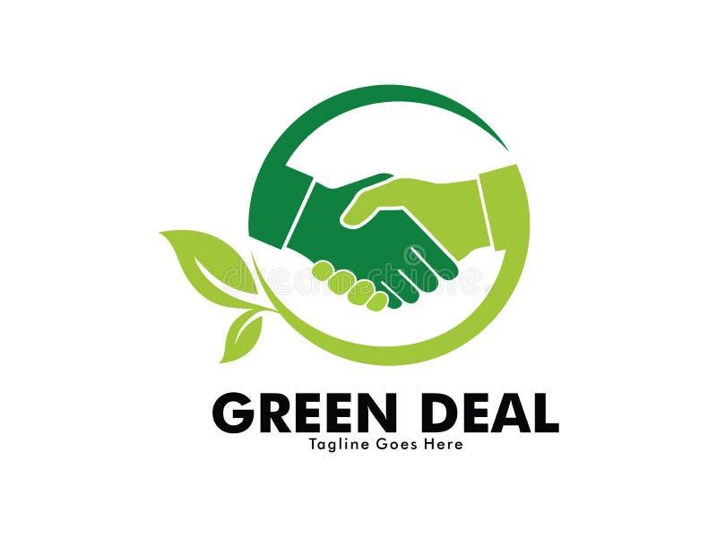 Дизайн логотипа рукопожатия дела зеленого цвета природы иллюстрация вектора