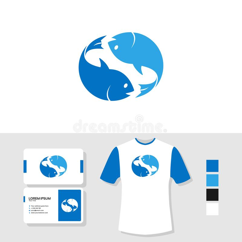 Дизайн логотипа 2 рыб с визитной карточкой и модель-макетом футболки бесплатная иллюстрация