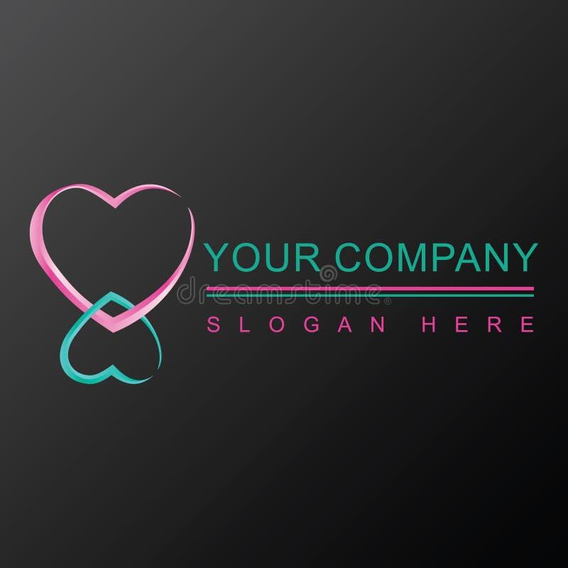 2 дизайн логотипа сердец 3D иллюстрация штока