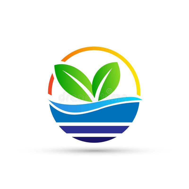 Дизайн логотипа символа значков ботаники дерева лист воды завода глобуса на белой предпосылке бесплатная иллюстрация