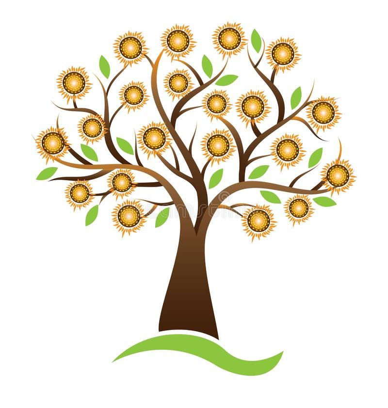 Дизайн логотипа солнцецвета дерева вектора бесплатная иллюстрация