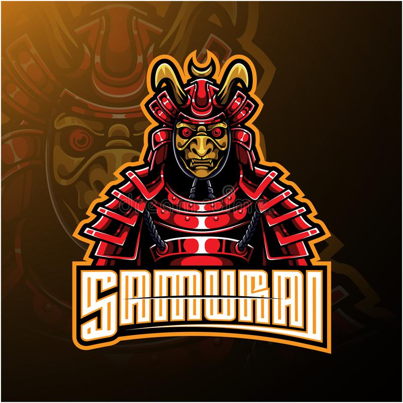 Дизайн логотипа талисмана воина самурая иллюстрация вектора